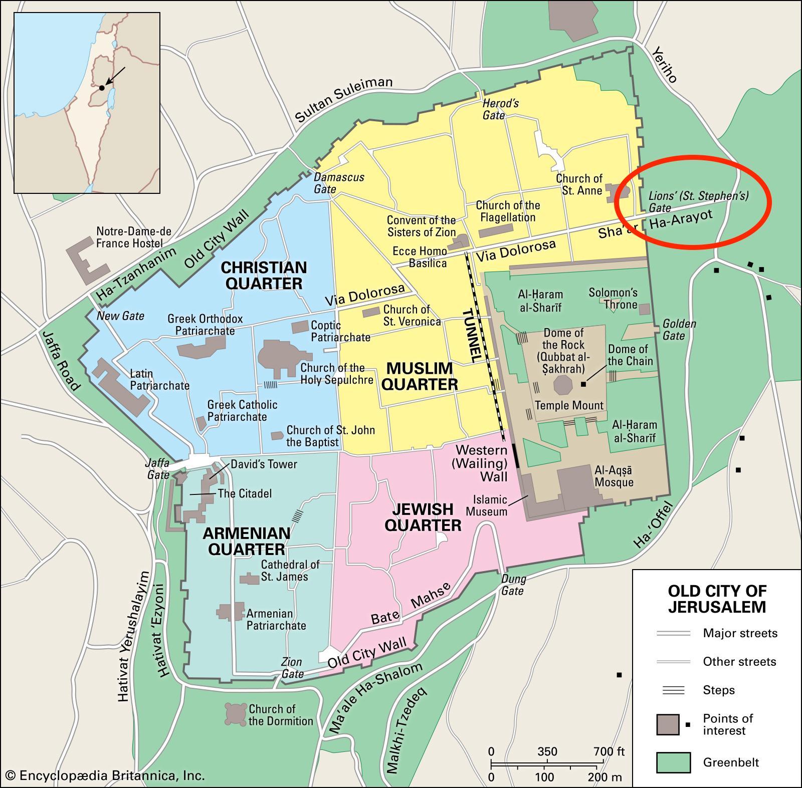 Lavovi Vrata Jerusalim Mapu Mapa Lavovi Vrata Jerusalim Izrael
